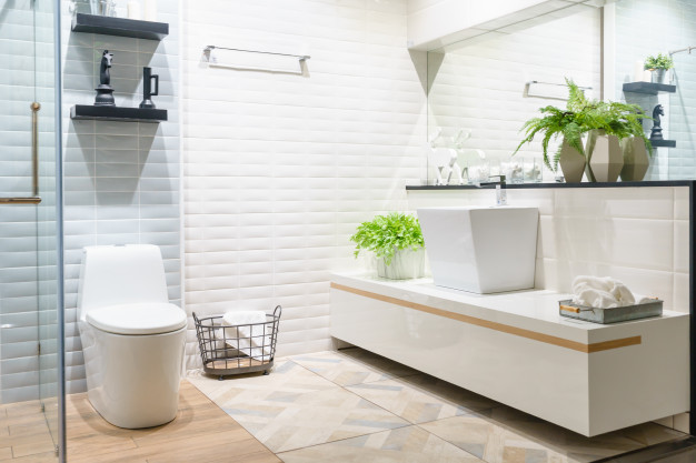 modern spacious bathroom with bright tiles with toilet sink side view 29285 746